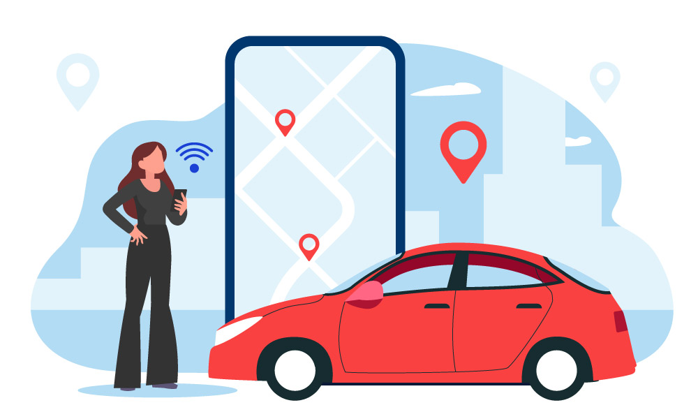 A person next to a car and mobile map app