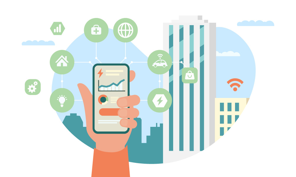 A hand with a phone surrounded by the icons of industries influenced by IoT