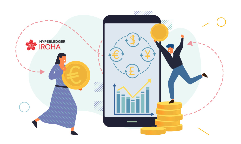 Two people carrying coins next to a phone and Hyperledger Iroha icon