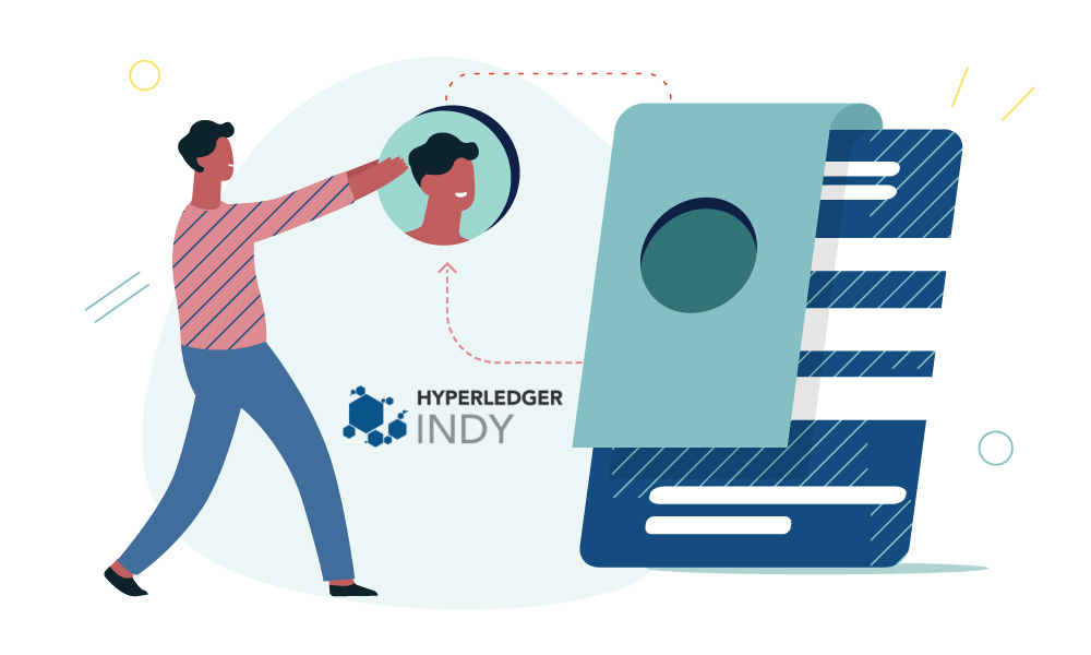 A person building a profile next to Hyperledger Indy icon