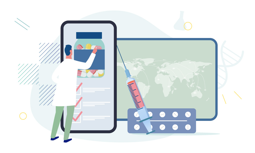 A medical worker choosing meds on a phone screen