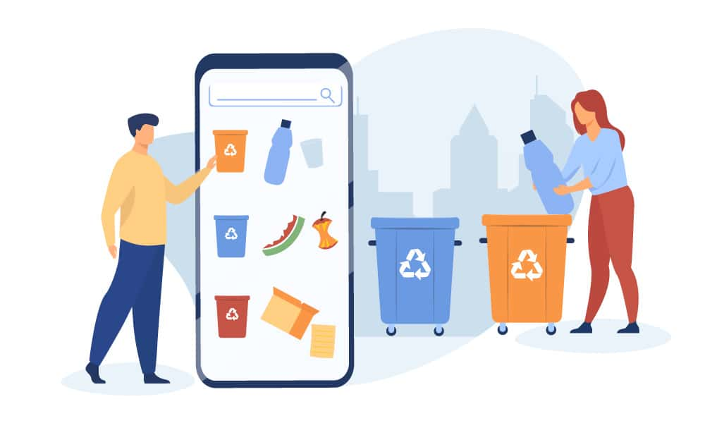 People using a mobile app to sort garbage properly