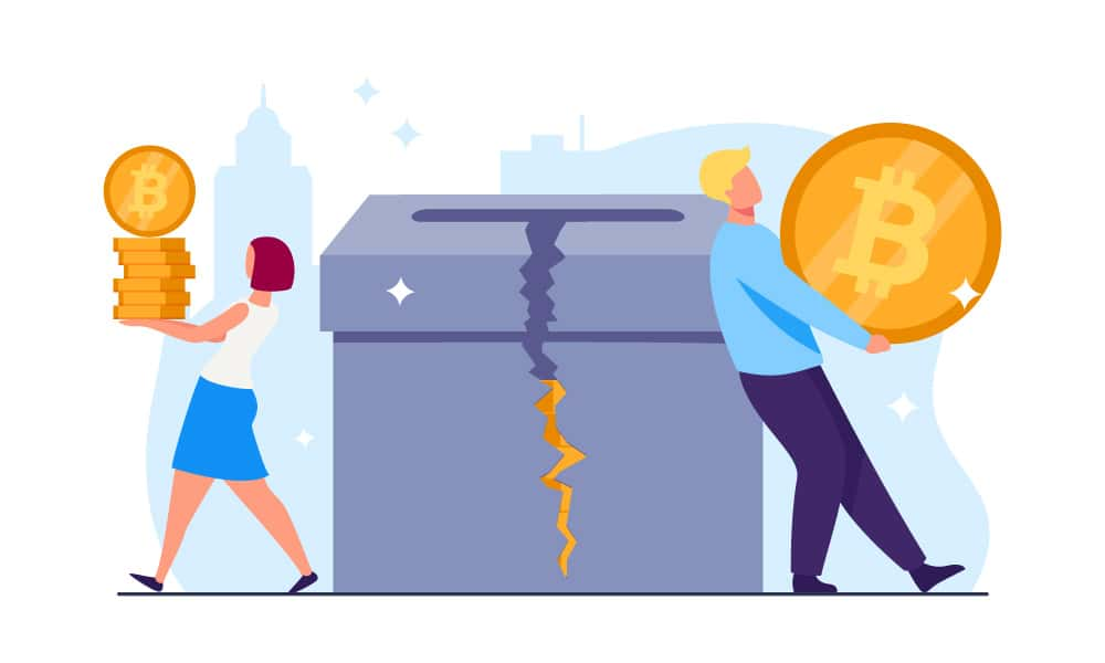 Two people next to a damaged charity box with bitcoins inside